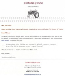 Ten Minutes By Tractor Gift Card (Email Delivery)